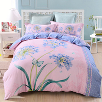 Papa Mima Fashion Floral Butterfly Queen King Size Bedding Sets 60S Thick Soft Sanding Cotton Fabric