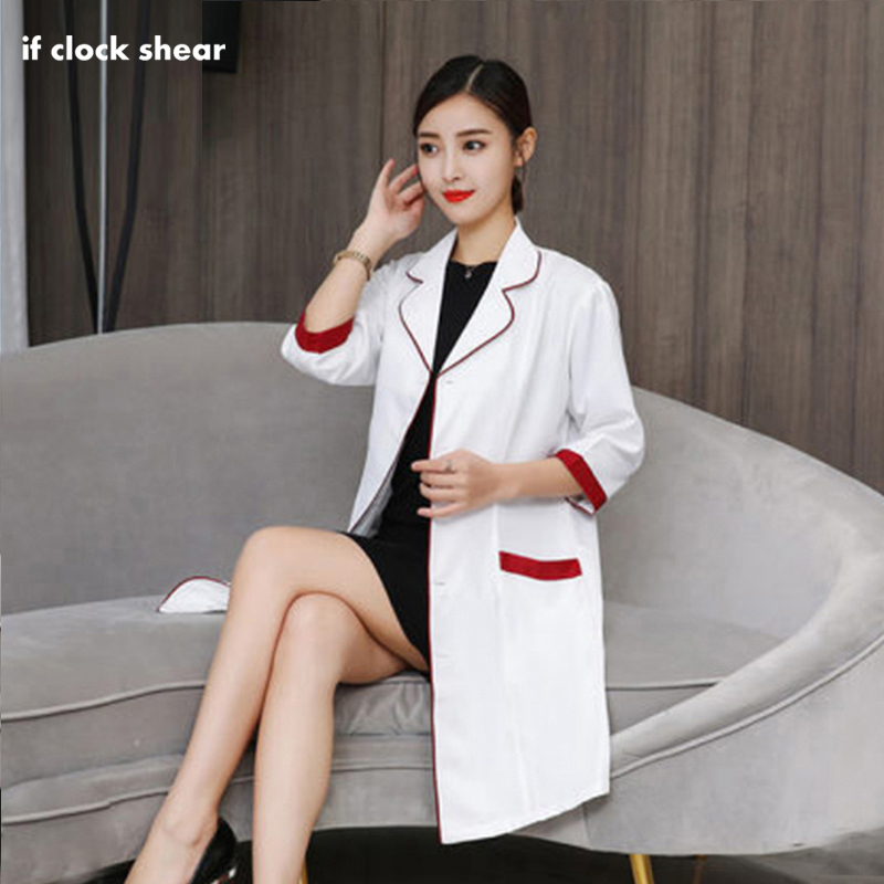 Korea Cosmetic Surgery Clothing Hospital Women Work Dress Medical Beauty Uniform Robes Lab Coat Doctor Nurse Pharmacist Coat New