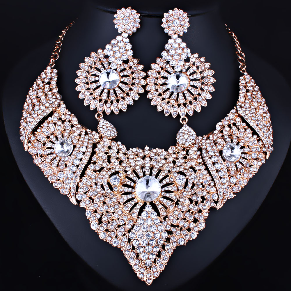 FARLENA Jewelry Full Clear Rhinestones Statement Necklace and Earrings for Women Indian Bridal Wedding Jewelry sets statement alloy crochet earrings and necklace