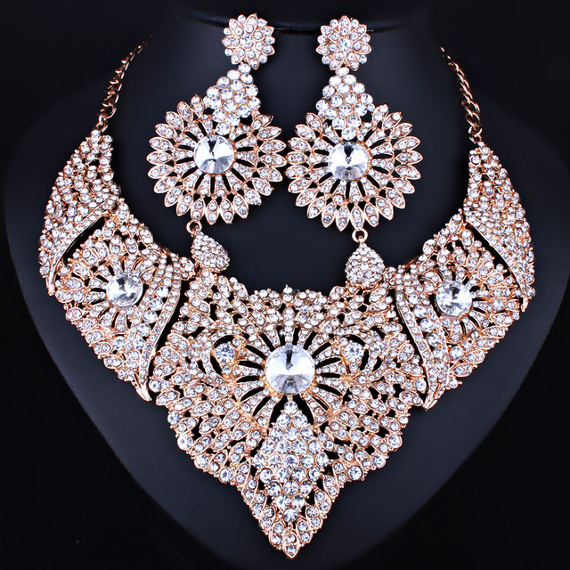 FARLENA Jewelry Full Clear Rhinestones Statement Necklace and Earrings for Women