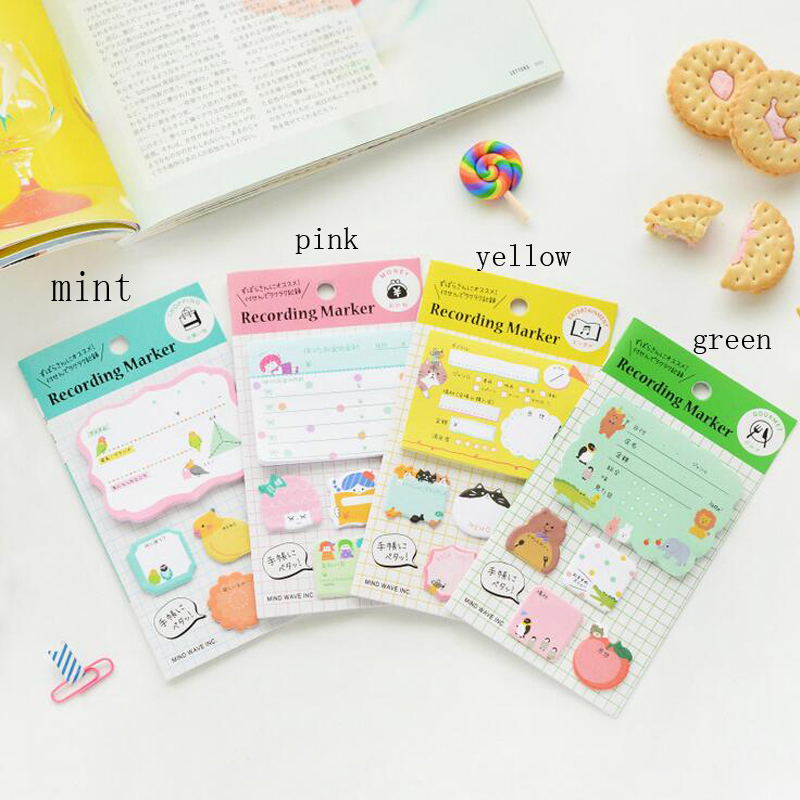 T23 1X Kawaii Cute Animals Paper Memo Pads Sticky Notes Meeting Recording Marker Stick Label Bookmark School Office Supply
