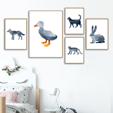 Geometry Duck Wolf Monkey Rabbit Animals Nordic Posters And Prints Wall Art Canvas Painting Pictures For Kids Room Decor