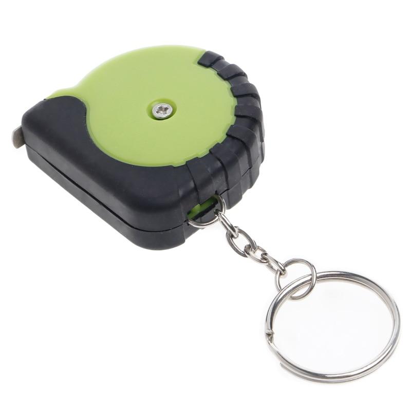 1Pc Mini Tape Measure With Key Chain Plastic Portable 1m Retractable Ruler cm/Inch