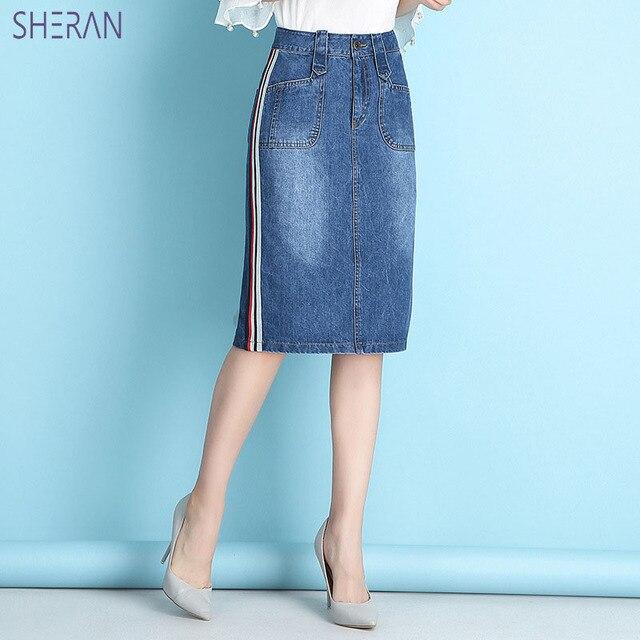 SHERAN 2018 女性の夏デニムスカートファッションハイウエストプラスサイズバッグヒップジーンズスカート高品質ブルーのセクシーなスカート底