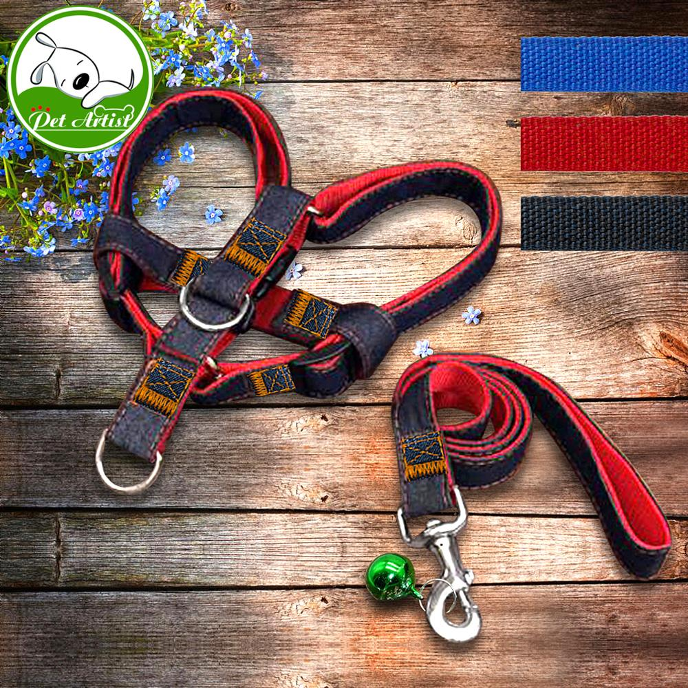 Justerbar No-Drag Denim Dog Harnesses Leash Collar för träning Walking Running Rescue Harness för små medelstora hund