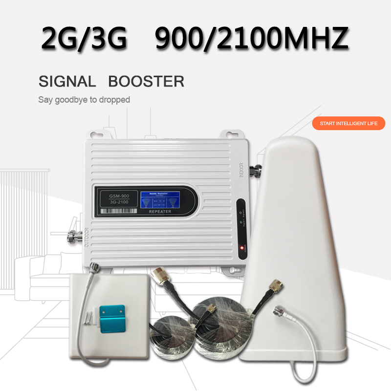 AYS 2G 3G Dual Band GSM Booster 900 WCDMA 2100 Cellphone Amplifier Cellphone Signal Repeater LTE Mobile Signal Booster For Home