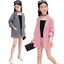 Teenage Girls Clothing Set Summer Gray Pink Jackets Shorts Tracksuit 3pcs School Uniform Clothes Children Outfits 10 Year