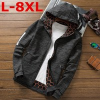 high quality Enlarging code Spring and autumn Plus size 8XL 7XL 6XL Men hooded casual Jacket spring Men Coat Trend Brand fashion