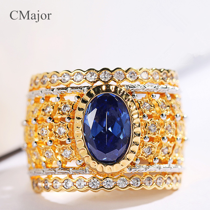 CMajor pure silver jewelry elegant vintage palace style rings with blue stone rings for women цена