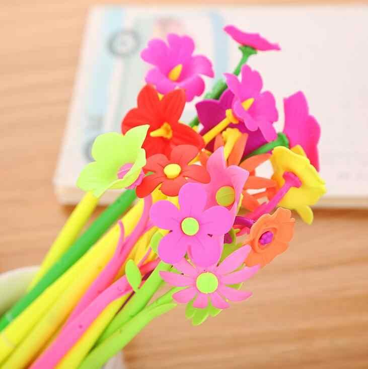 2000 шт/партия Силиконовые Красочные Креативные милые цветочные гелевые ручки