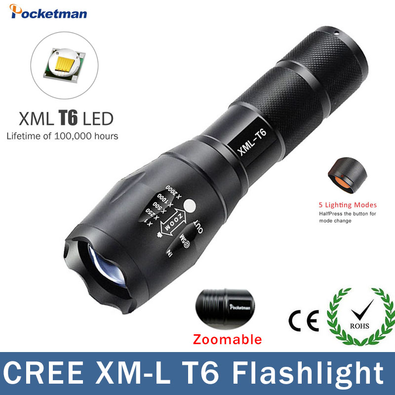 Big Promotion Ultra Bright XM-L T6 LED Flashlight 5 Modes 4000 Lumens Zoomable LED Torch For AAA Or 18650
