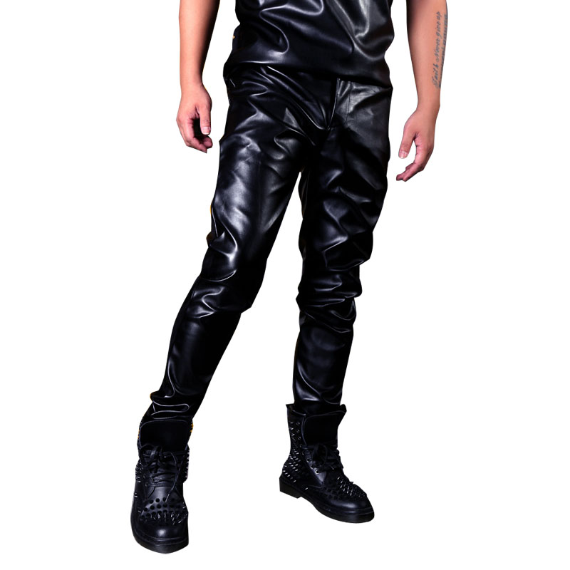 Men Casual Leather Motorcycle Pants Custom Made Male Fashion Singer Dancer Hip Hop Rock Style Slim Fit PU Leather Trousers