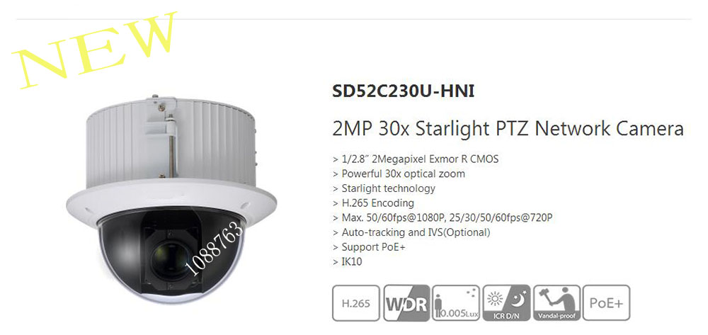 Free Shipping DAHUA Security IP Camera 2MP 30x Starlight PTZ Network Camera Without Logo SD52C230U HNI