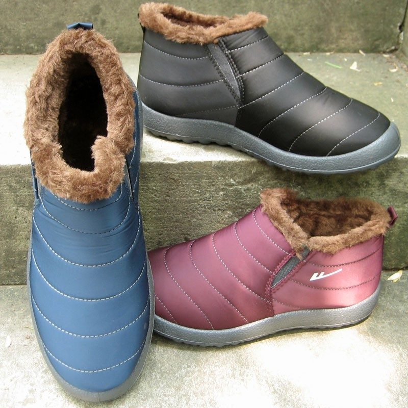 Warrior Women thick Winter Shoes black waterproof 2017 female ankle snow boots ladys cotton-padded casual outdoor warm shoes