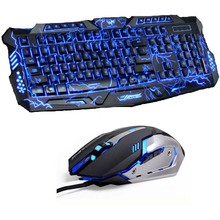 Tri Color LED Backlit Professional  Gaming Keyboard  Gaming Keyboard Mouse Combo 6 Color Backlight Gaming Mouse for PC Desktop