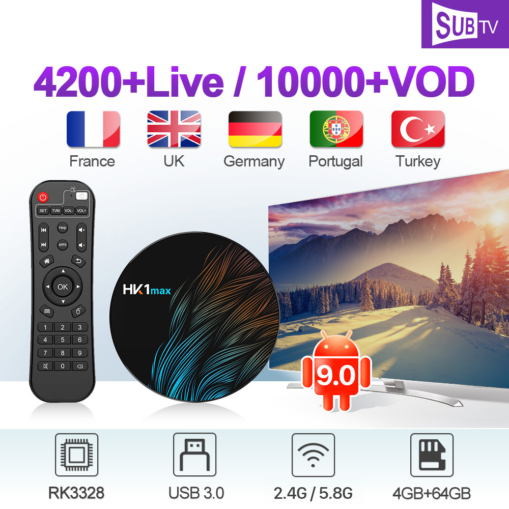 French IPTV France Arabic SUBTV Italy Canada Android 9 0 Box HK1 MAX 4G 64G BT