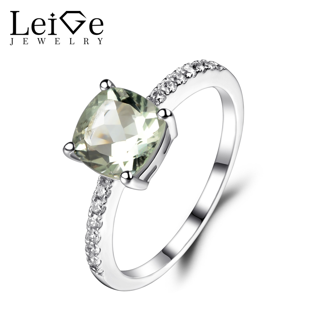 Leige Jewelry Green Amethyst Ring Sterling Silver 925 Fine Jewelry Wedding Engagement Rings for Women Cushion Cut GemstoneLeige Jewelry Green Amethyst Ring Sterling Silver 925 Fine Jewelry Wedding Engagement Rings for Women Cushion Cut Gemstone