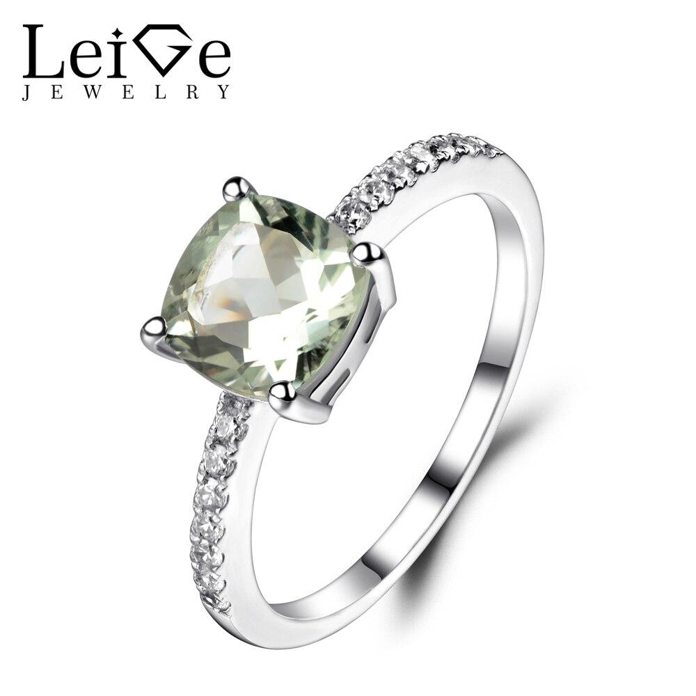 Leige bijoux vert améthyste bague en argent Sterling 925 bijoux fins mariage bagues de fiançailles pour les femmes coussin coupe pierre précieuse