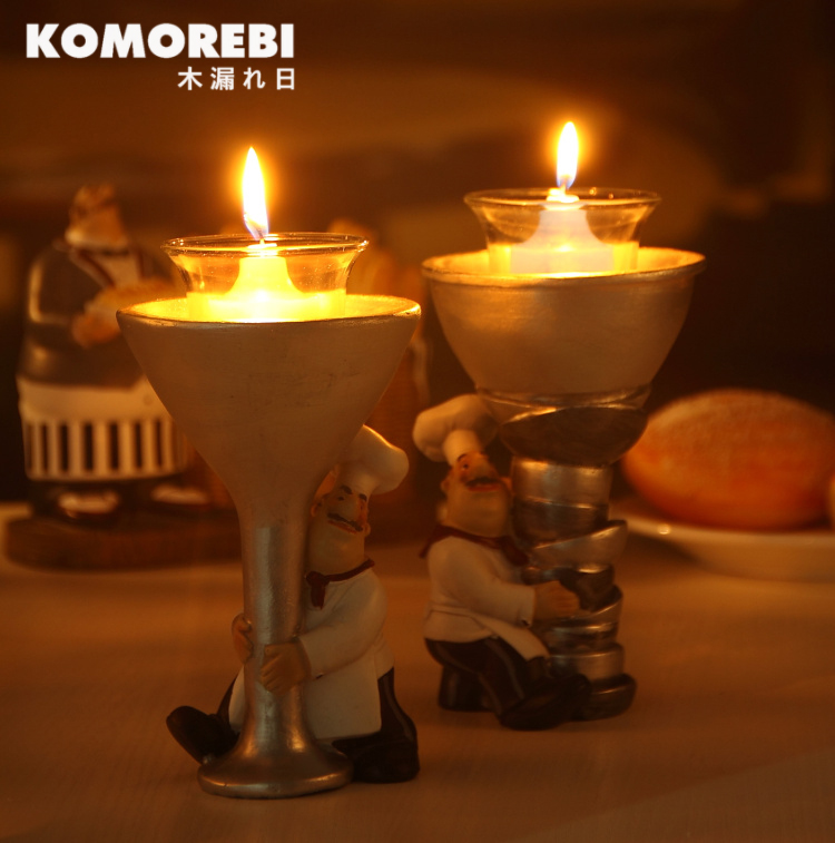 KOMOREBI Chef Resin Craft Vintage Home Decor Chef Welcome Signage Candle holder Ornaments Coffee shop Restaurant Decoration