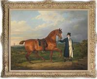 Oude Meester-Art Antieke Olieverf Portret aga paard op canvas 30