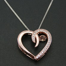 Fine Necklace 100% 925 Sterling Silver Dancing CZ Crystal Love Rose Gold Plated Pendant Necklace Women Jewelry Necklace