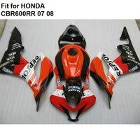 High quality ABS fairings for Honda red black CBR600RR 2007 2008 fairing kit CBR 600RR 07 08 TY21