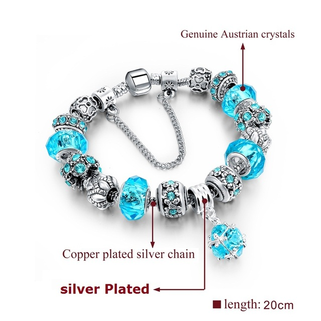 Original DIY Beads European Style Authentic Tibetan Silver Blue Crystal Women Charm Bracelet Jewelry Ideal Christmas Gift