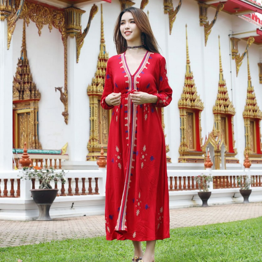 Fashion embroidered dress three quarter Sleeve Traditional indian clothing Turkish Pakistan India women clothing in India Pakistan Clothing from Novelty Special Use