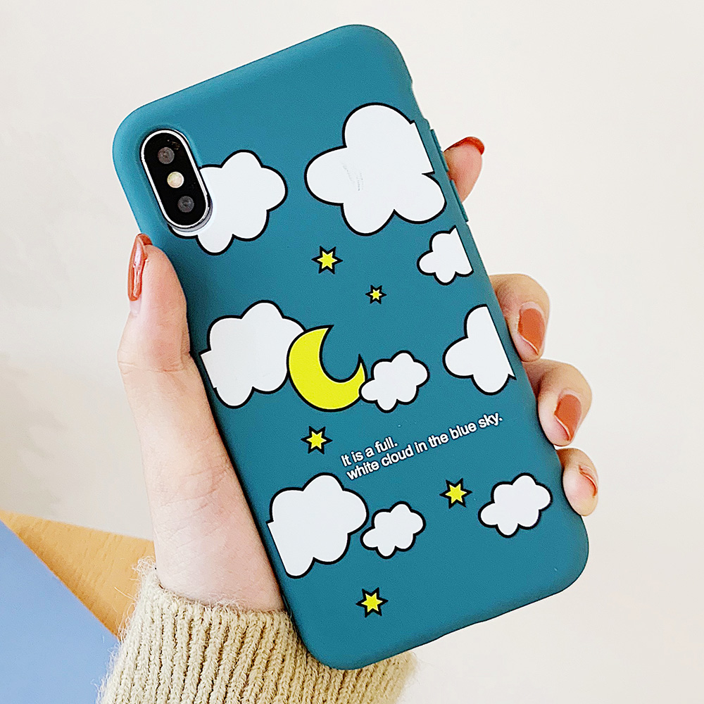 KIPX1114_6_JONSNOW Matte Phone Case for iPhone XS Max X XR Cases White Clouds Pattern Soft Silicone Cover for iPhone 6 6S 6P 7 8 Plus