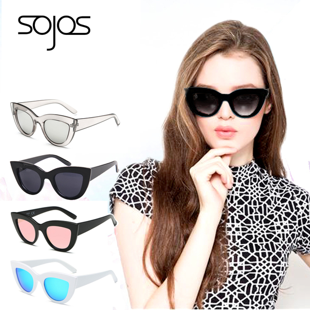Women with box Classic Cat Eye Style Brand Designer Fashion Shades black plastic