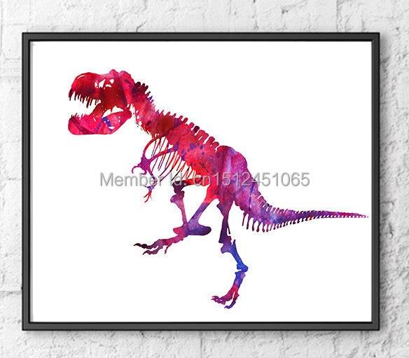 Roze T Rex Olieverf Dinosaurus Botten Kinderen Kunst Abstracte Home