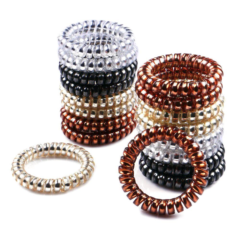 4Pcs/Pack Women Rubber Hair Rope Elastic Hairbands Spiral Shape Hair Ties   Headwear   Accessories Telephone Wire Line Headband