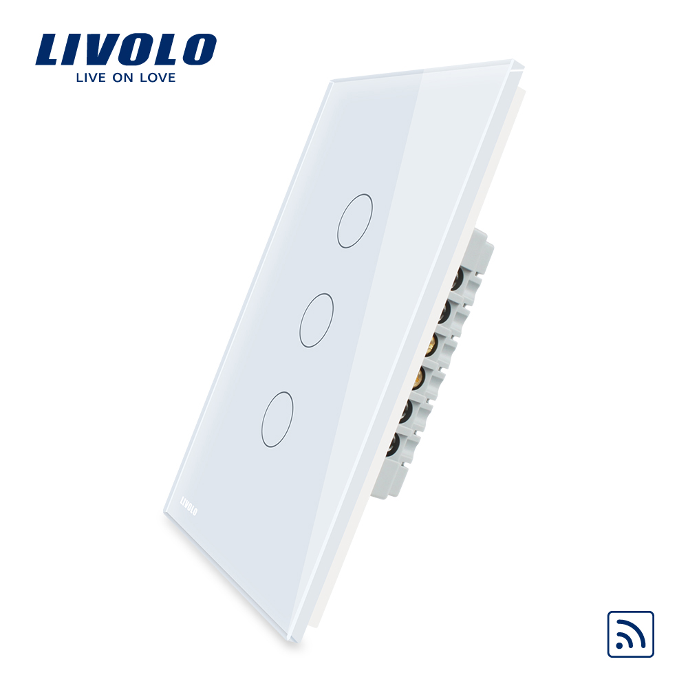 Livolo  Remote Switch With Crystal Glass Panel, Wall Light Remote Touch+LED Indicator,3gang 1 Way,VL-C503R-11/12,Without Remote smart home eu touch switch wireless remote control wall touch switch 3 gang 1 way white crystal glass panel waterproof power