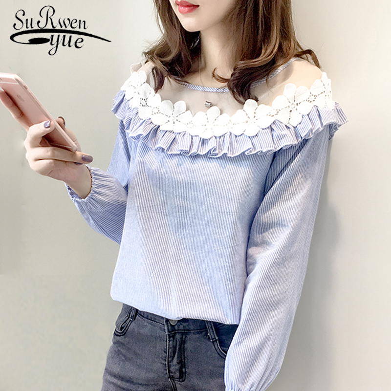 Fashion Women Blouses 2018 Long Sleeve Lace Blue Striped Women Blouse Shirt Casual Feminine Blouses Blusas Women Tops 0693 30