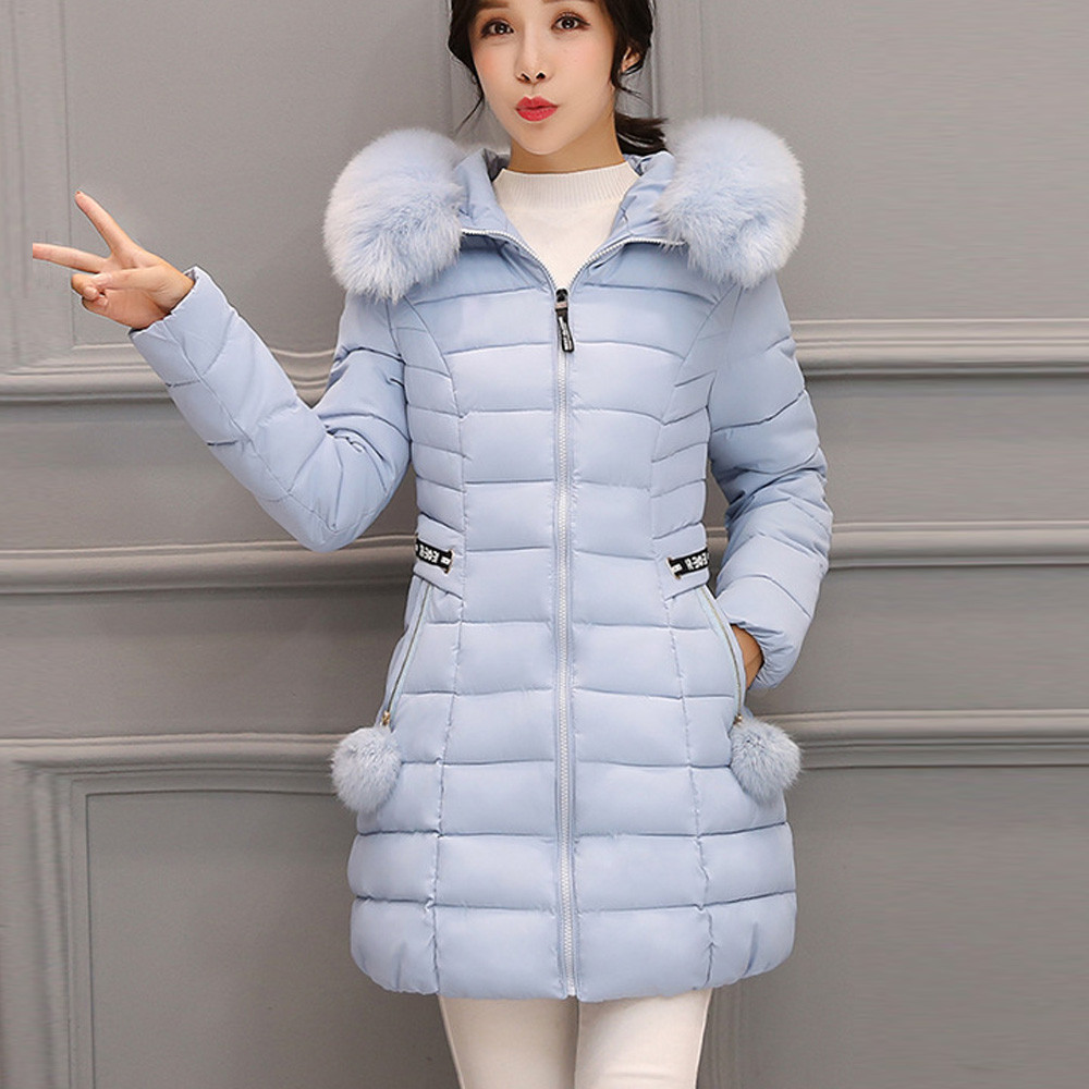 Down Coats 2018 Winter Jacket Silver Fox Fur Collar Plus Long Parka 90% Down Coat Female Bright Hooded Thick Warm Slim Feather Outwear L273