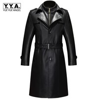 Winter Genuine Leather Long Jackets Man Slim Trench Coats Mens Single Breasted Real Leather Coats For