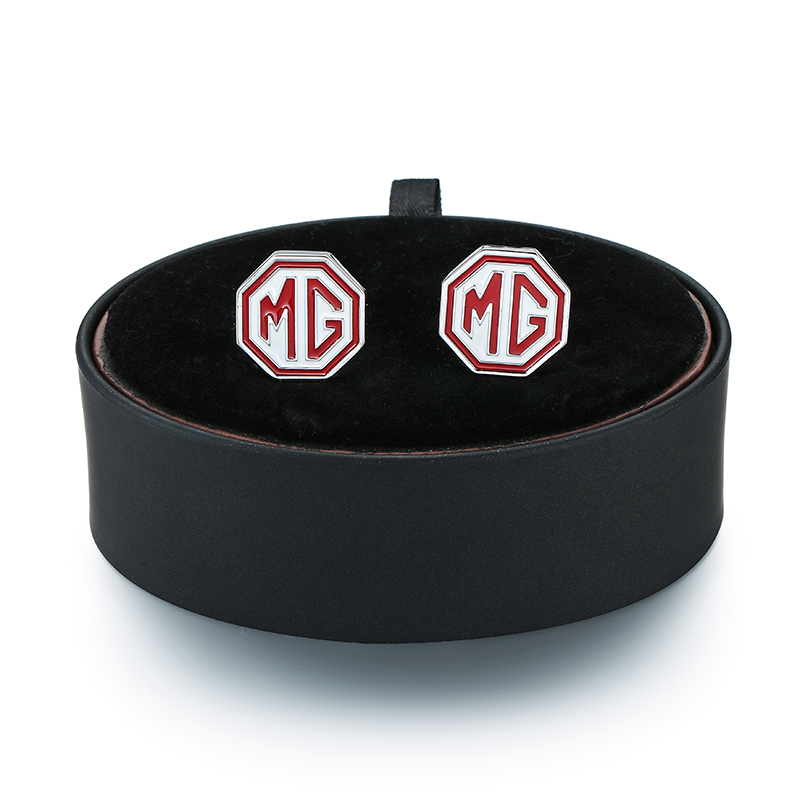 A set of new fashion mens French shirt cufflink luxury brand MG car logo Cufflinks black leather box set Free freight