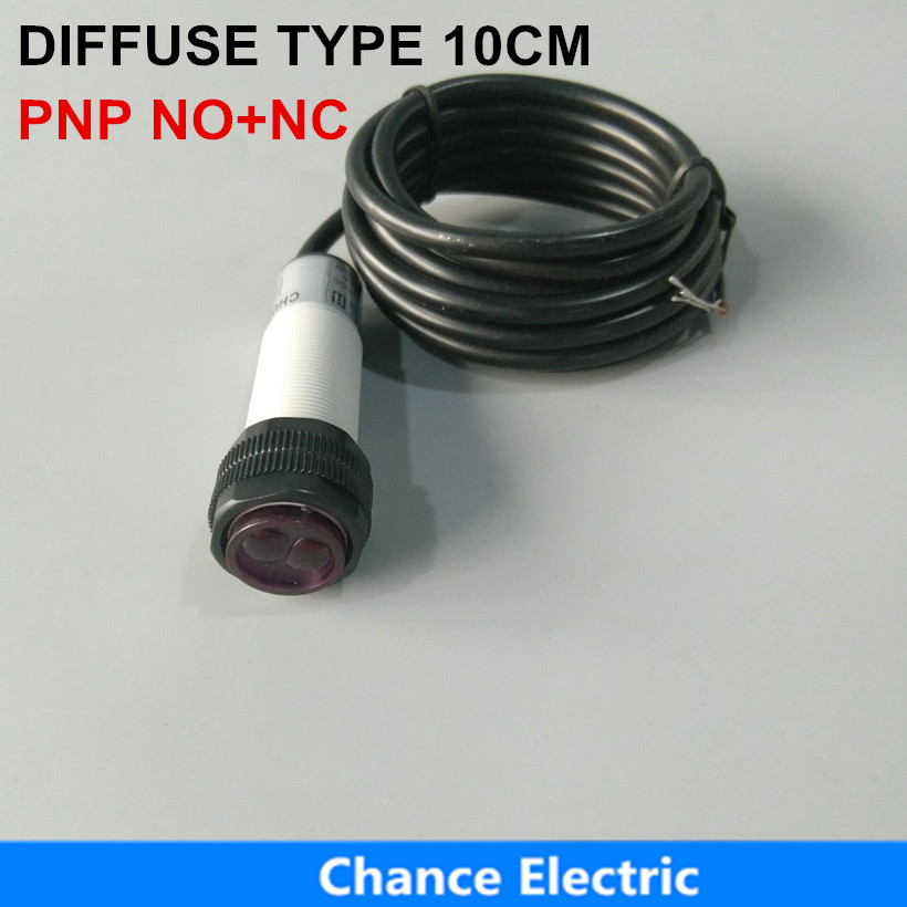 free shipping E3F 10cm distance infrared PNP 6-36V IR diffusion Photoelectric Sensor Switch E18-3A10PC free shipping 3 wire 2m distance reflector mirror type light ray infrared sensor photoelectric sensor switch e18 3b2pa