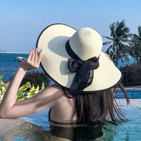 Elegant Sun Visor Net Hat Girl Female Summer Ladies Hats For Women Large Brimmed Straw Sun Hat Folding Beach Casual Sombrero