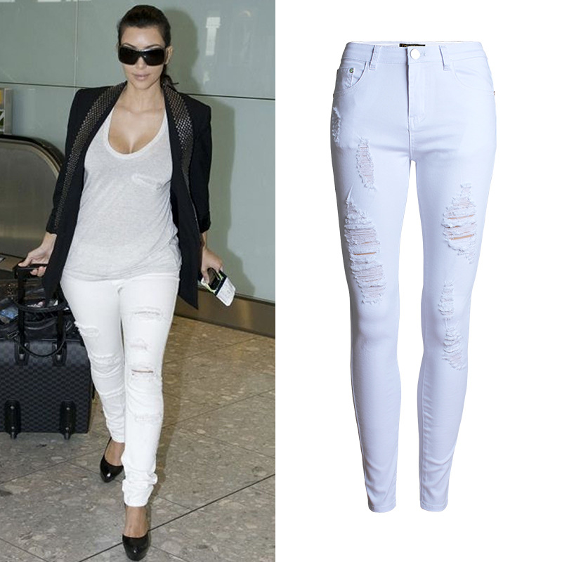 Popular Ripped White Skinny Jeans-Buy Cheap Ripped White Skinny