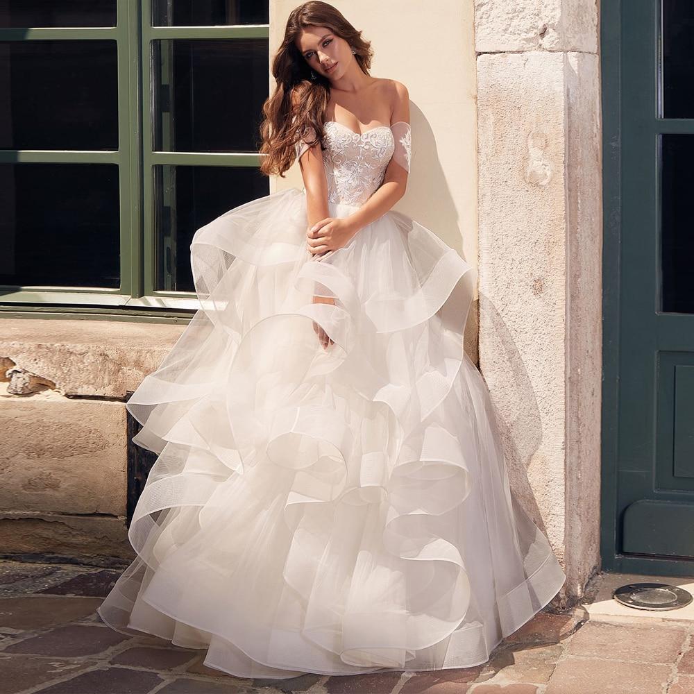 Exquisite Off-shoulder Princess Wedding Dress With Appliques Cascading Ruffles Puffy Tulle Bridal Gown 2020 Vestidos De Novia