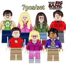 7pcs/set THE BIG BANG Theory Building Blocks TBBT Sheldon Leonard Penny Howard Amy Rajesh diy figures Kids Gift Toy DIY