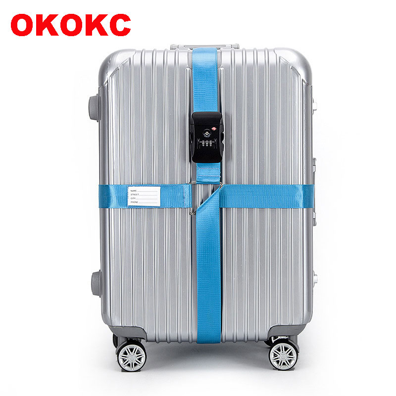 OKOKC 4 2m TSA 3 Digit Customs Password LockLuggage Belt Adjustable Travel Luggage Cross Strap for