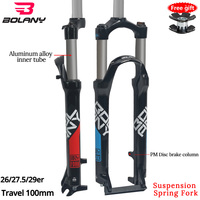 Bolany 2019 New 26/27.5/29er MTB All Aluminum Alloy Mechanical Fork Suspension Spring Fork Damping For Bicycle Accessories