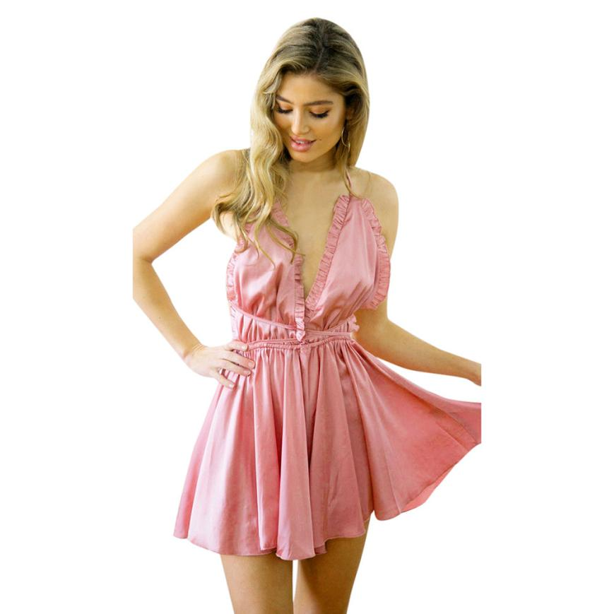 New  Women Holiday Mini Playsuit Sleeveless Bandage Loose Short Jumpsuit Dropshipping L619