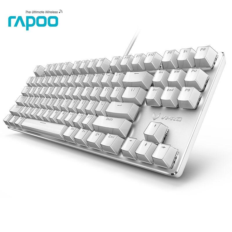 лучшая цена New Arrival Rapoo V500S Ice Crystal Version White Backlit Mechanical Gaming Keyboard Teclado for Game Computer Desktop Laptop