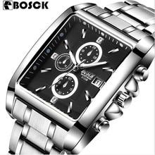 BOSCK Marca Mens Del Deporte Del Cuarzo Militar Reloj Cuadrado Correa de Acero Inoxidable Relojes Casual Reloj de Pulsera de Acero Completo Reloj de Los Hombres Relojes