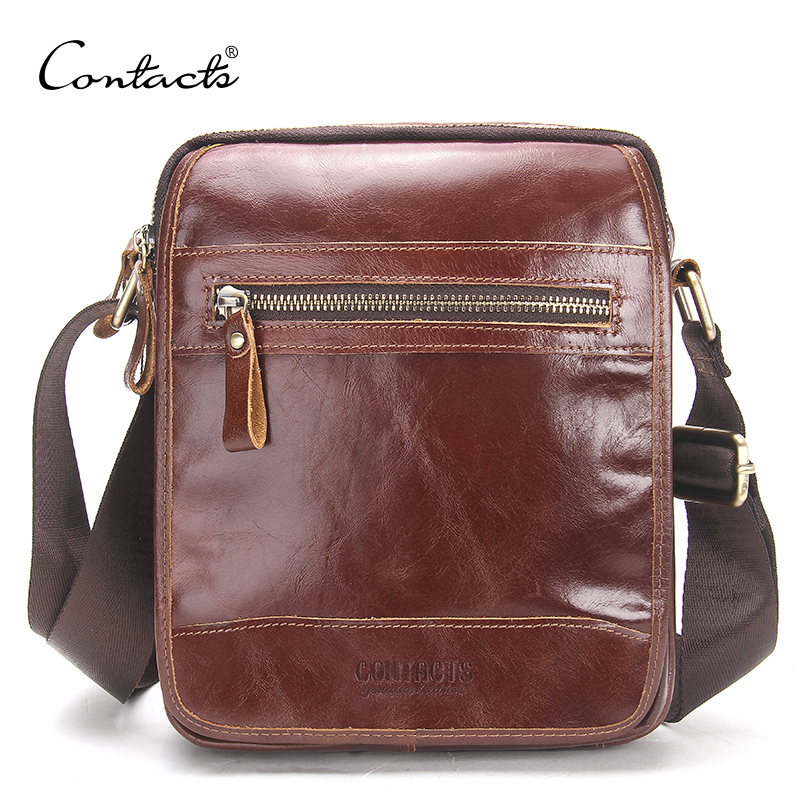 CONTACT'S New Fashion Cowhide Man Messenger Bags Small Genuine Leather Male CrossBody Bag Casual Men Shoulder Bag Travel Bolsa
