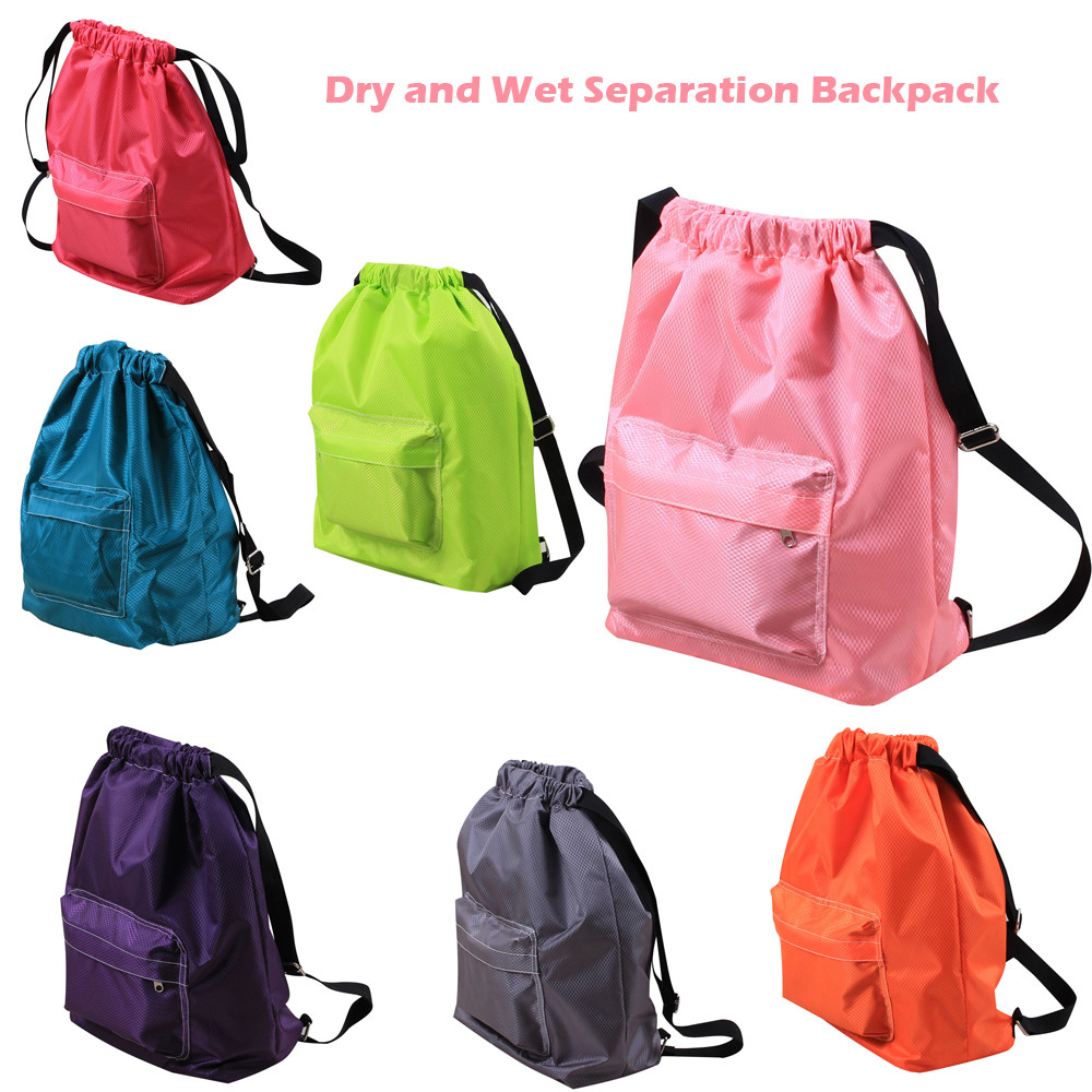 Swimming Swim Pool Waterproof  Dry And Wet Separation Drawstring Backpack