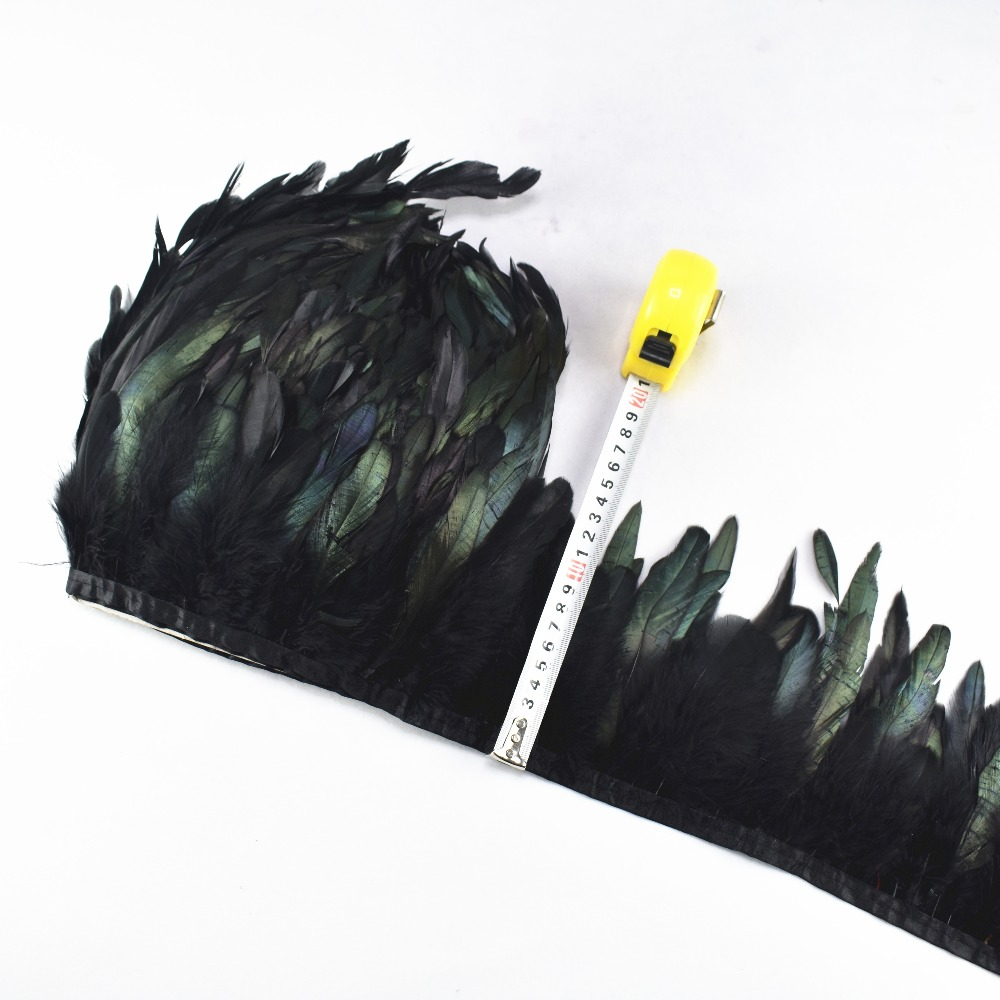 1 Yards Long High Quality Black Rooster Trims Feather Fringe Dyed  With Satin Ribbon Tape For Skirt Feathers For Crafts Party